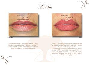 Trucco permanente labbra pigmentazione effetto rossetto