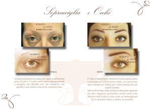 Trucco semipermanente sopracciglia occhi prima e dopo
