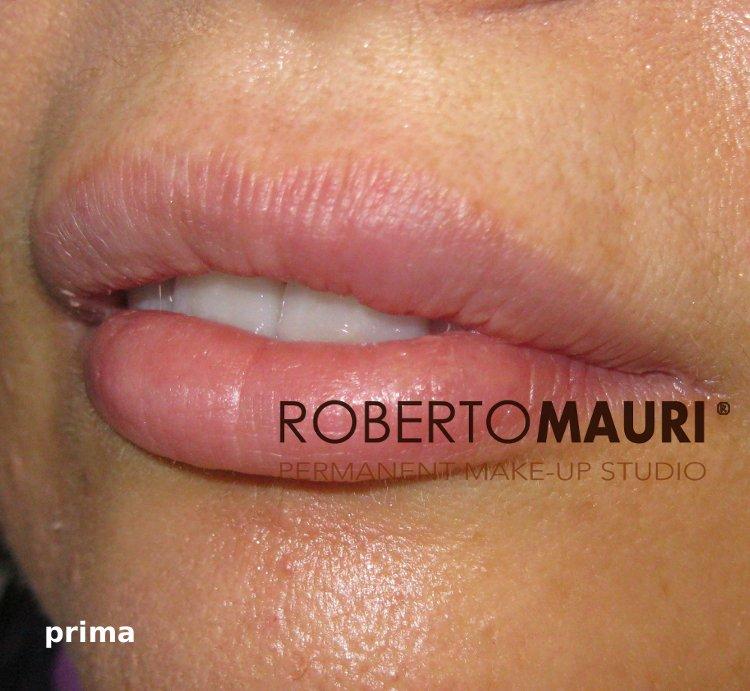 Trucco permanente: sfumatura effetto rossetto dopo il trattamento